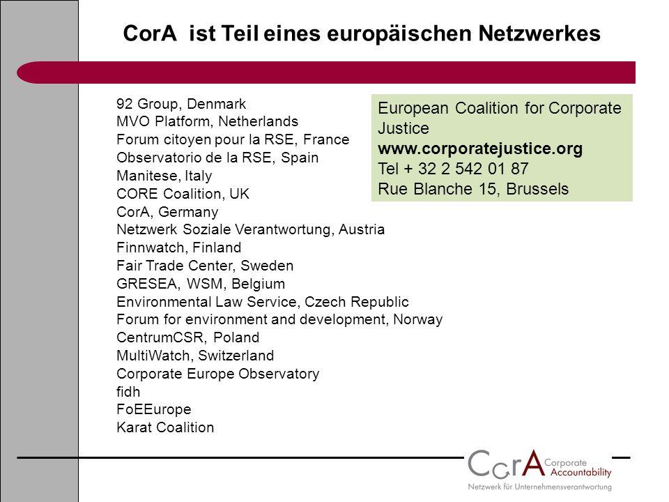 CorA ist Teil eines europäischen Netzwerkes