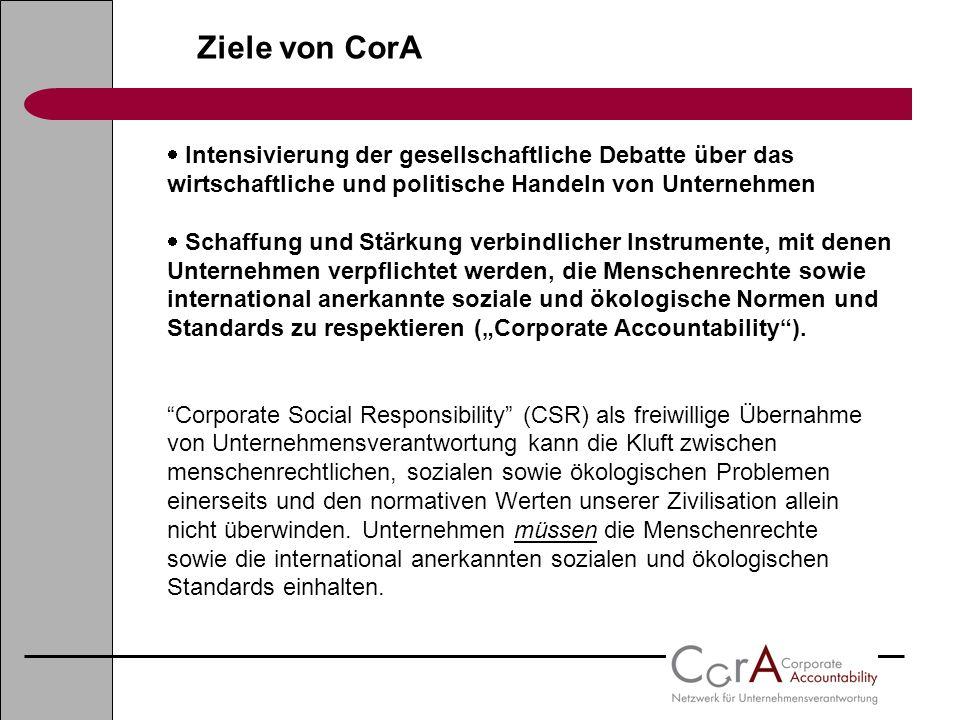Ziele von CorA Intensivierung der gesellschaftliche Debatte über das wirtschaftliche und politische Handeln von Unternehmen.