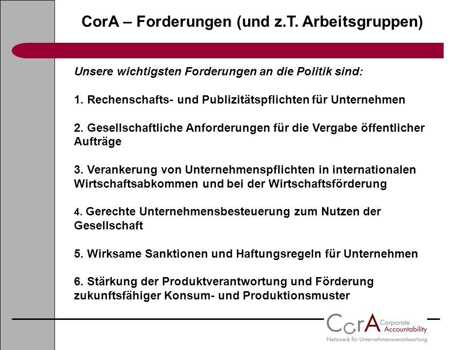 CorA – Forderungen (und z.T. Arbeitsgruppen)