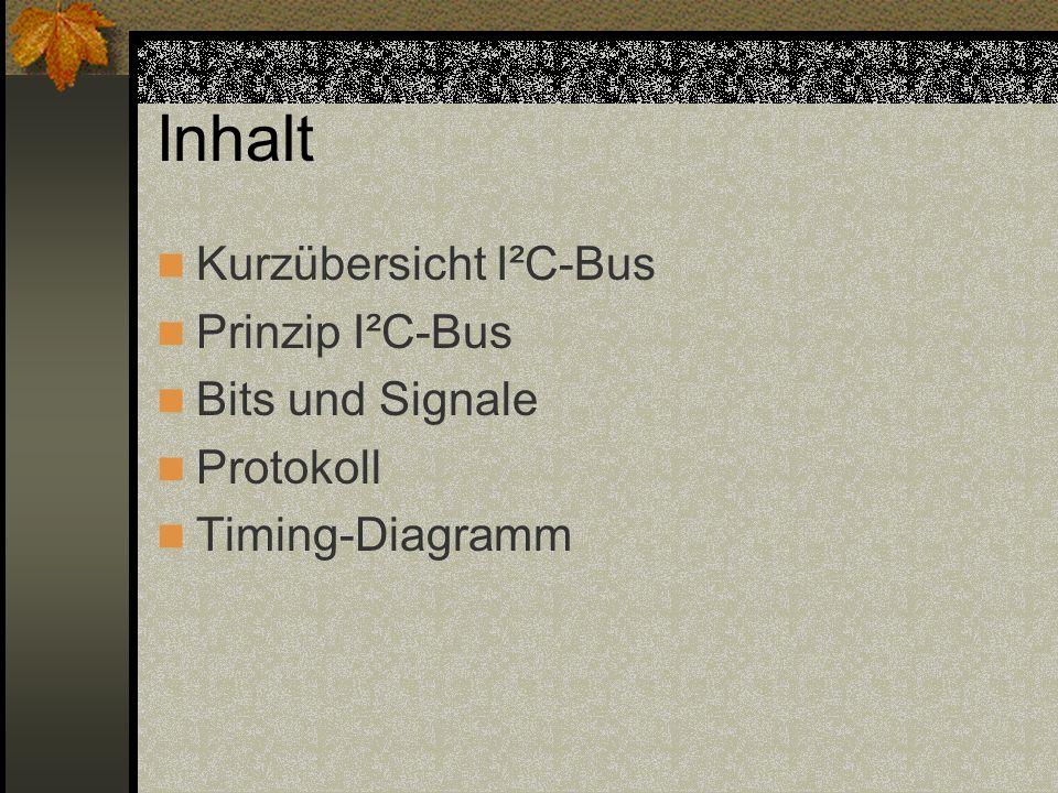Inhalt Kurzübersicht I²C-Bus Prinzip I²C-Bus Bits und Signale