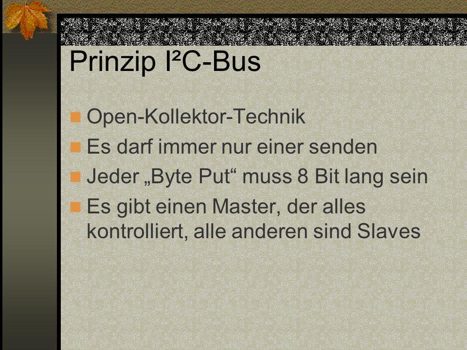 Prinzip I²C-Bus Open-Kollektor-Technik Es darf immer nur einer senden