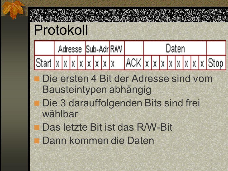 Protokoll Die ersten 4 Bit der Adresse sind vom Bausteintypen abhängig