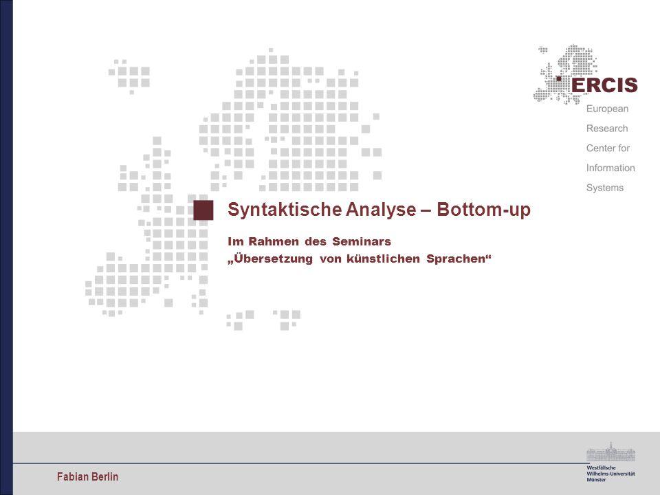 Syntaktische Analyse – Bottom-up