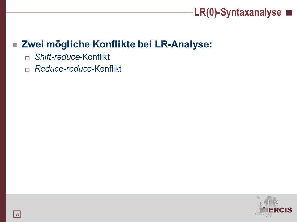 LR(0)-Syntaxanalyse Zwei mögliche Konflikte bei LR-Analyse: