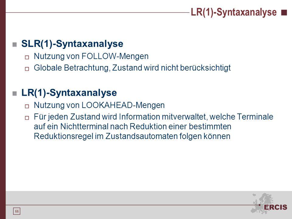 LR(1)-Syntaxanalyse SLR(1)-Syntaxanalyse LR(1)-Syntaxanalyse