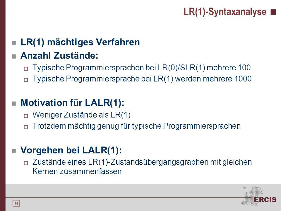 LR(1)-Syntaxanalyse LR(1) mächtiges Verfahren Anzahl Zustände: