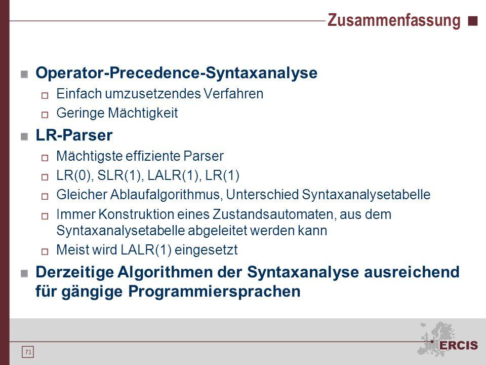 Zusammenfassung Operator-Precedence-Syntaxanalyse LR-Parser