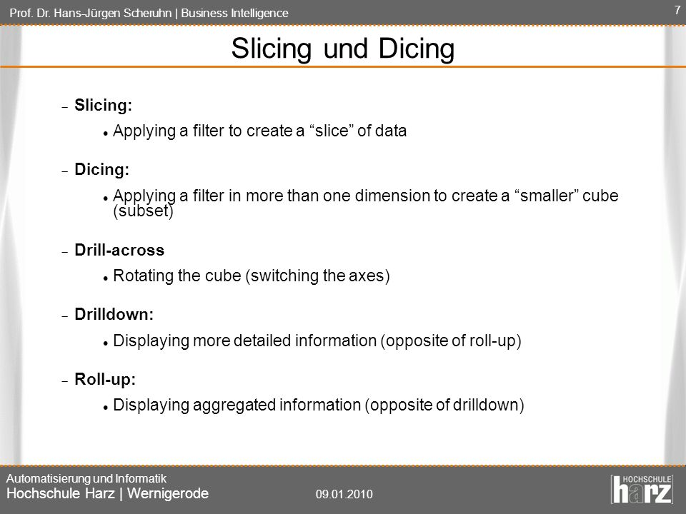Slicing und Dicing Slicing: