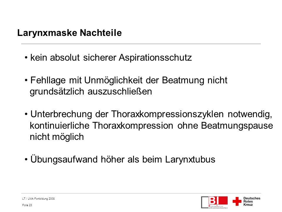 Larynxmaske Nachteile