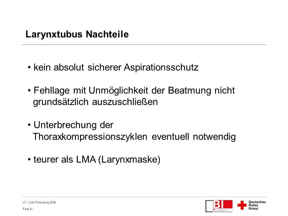 Larynxtubus Nachteile