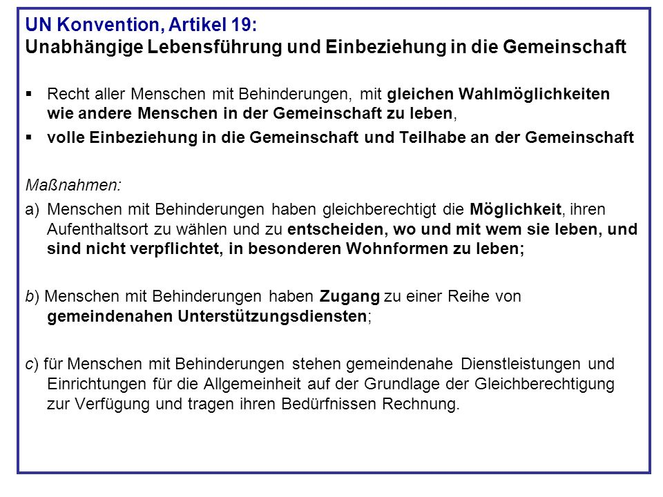 UN Konvention, Artikel 19: