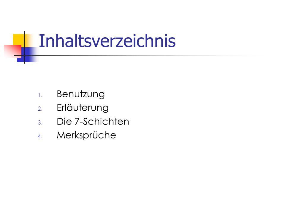 Inhaltsverzeichnis Benutzung Erläuterung Die 7-Schichten Merksprüche