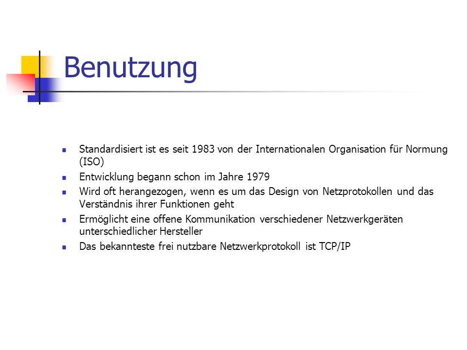 Benutzung Standardisiert ist es seit 1983 von der Internationalen Organisation für Normung (ISO) Entwicklung begann schon im Jahre 1979.