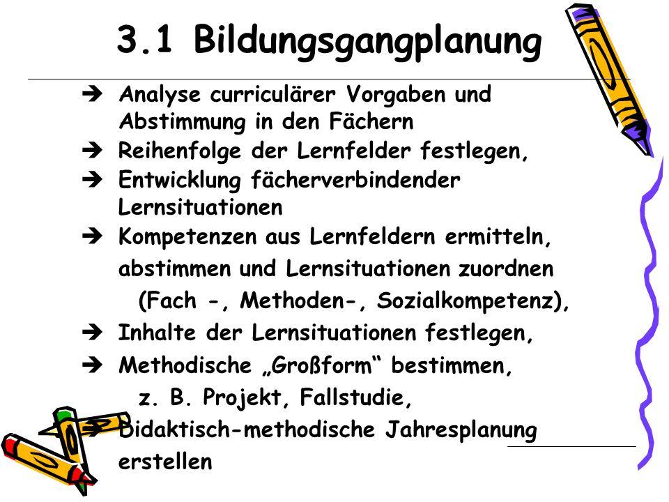 3.1 BildungsgangplanungAnalyse curriculärer Vorgaben und Abstimmung in den Fächern. Reihenfolge der Lernfelder festlegen,