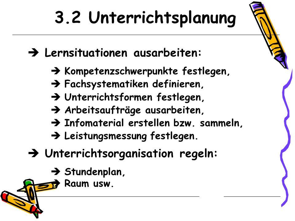3.2 Unterrichtsplanung Lernsituationen ausarbeiten:
