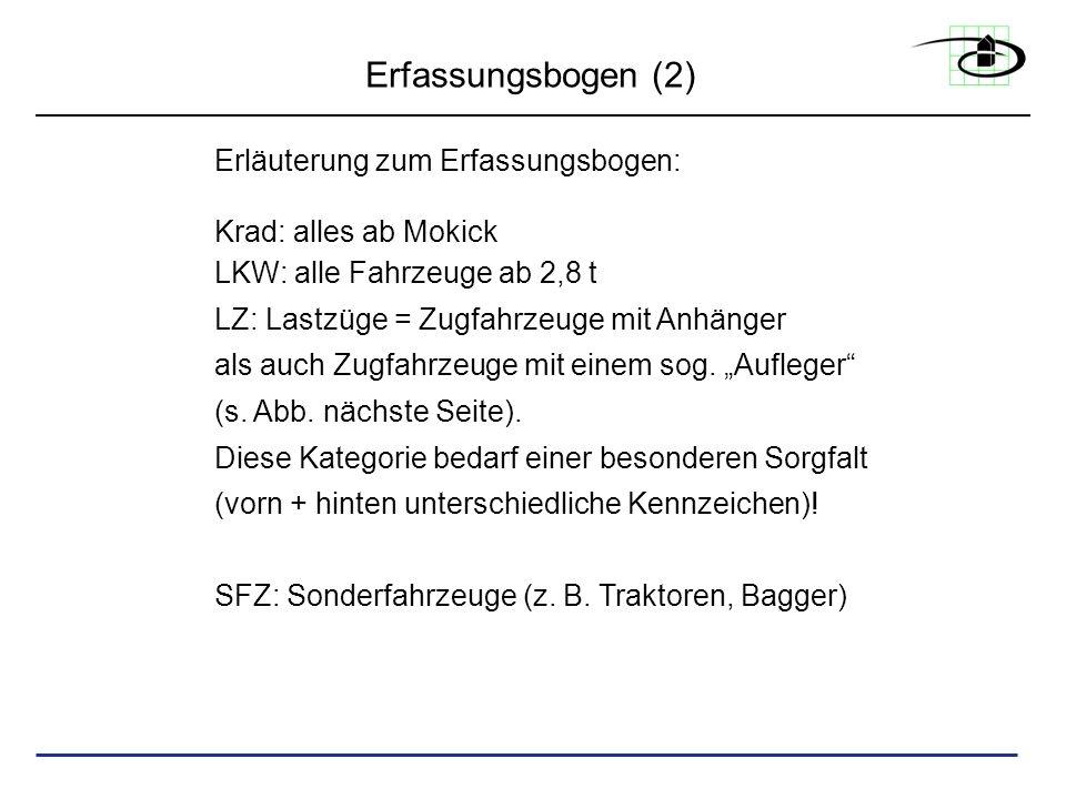 Erfassungsbogen (2) Erläuterung zum Erfassungsbogen: