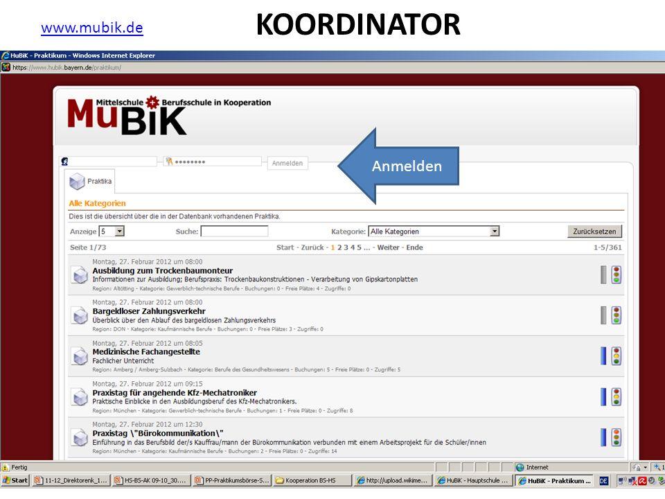 KOORDINATOR www.mubik.de Anmelden