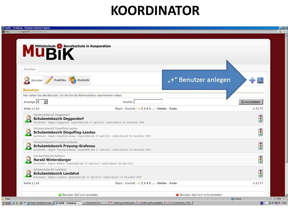 """KOORDINATOR """"+ Benutzer anlegen"""