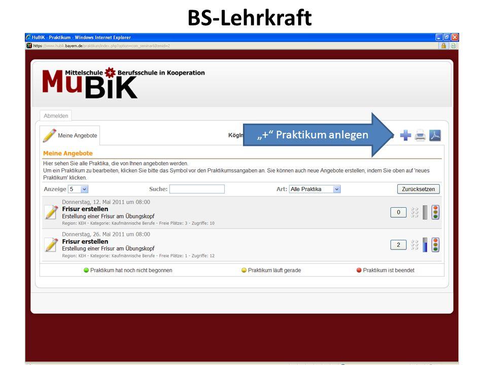 """BS-Lehrkraft """"+ Praktikum anlegen 25.03.2017"""