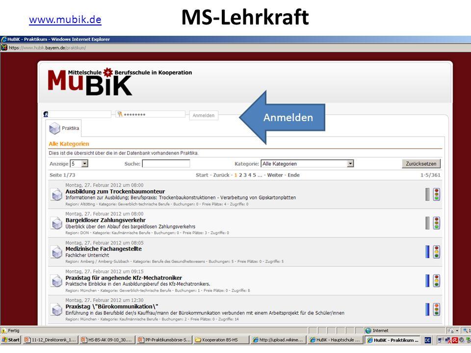 MS-Lehrkraft www.mubik.de Anmelden