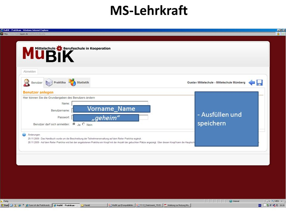 """MS-Lehrkraft - Ausfüllen und speichern Vorname_Name """"geheim"""