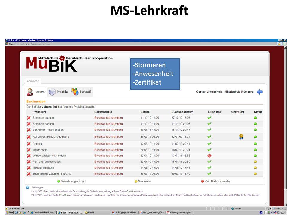 MS-Lehrkraft Stornieren Anwesenheit Zertifikat