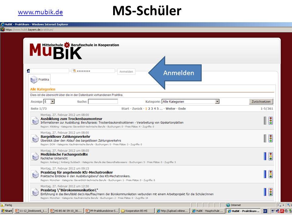 MS-Schüler www.mubik.de Anmelden