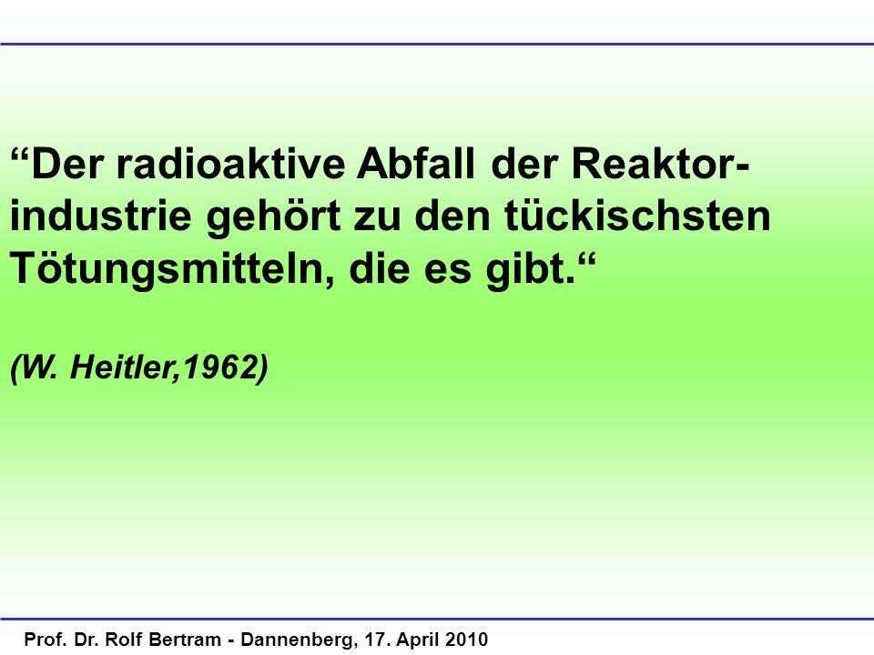 Der radioaktive Abfall der Reaktor-industrie gehört zu den tückischsten Tötungsmitteln, die es gibt.