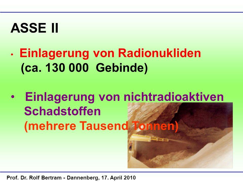 ASSE II Einlagerung von Radionukliden. (ca. 130 000 Gebinde) Einlagerung von nichtradioaktiven Schadstoffen.
