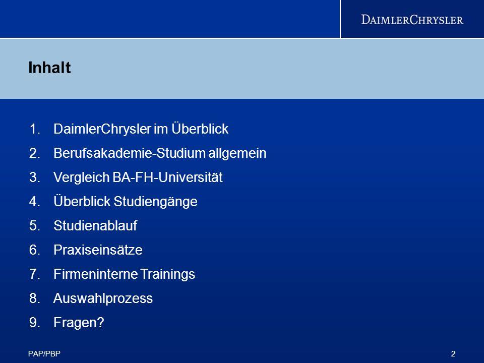 Inhalt DaimlerChrysler im Überblick Berufsakademie-Studium allgemein