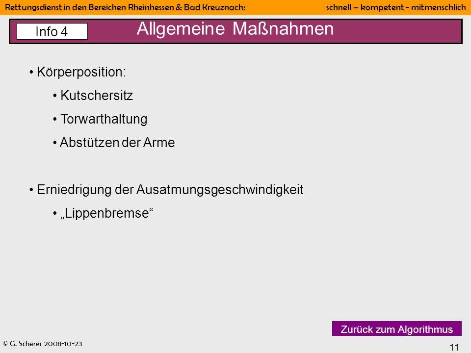 Allgemeine Maßnahmen Info 4 Körperposition: Kutschersitz