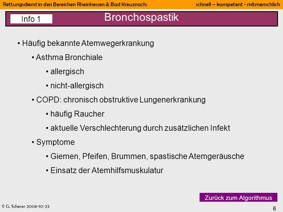 Bronchospastik Info 1 Häufig bekannte Atemwegerkrankung