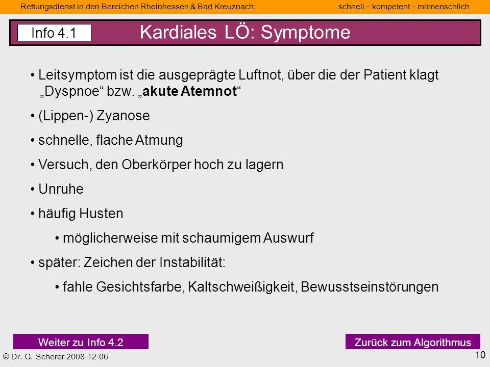 Kardiales LÖ: Symptome