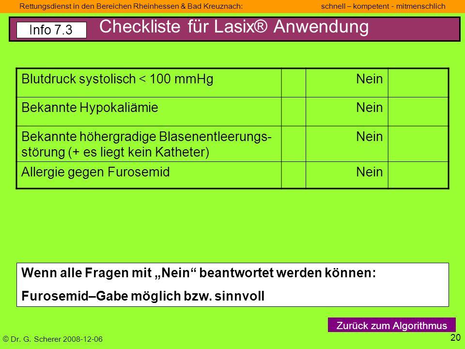Checkliste für Lasix® Anwendung