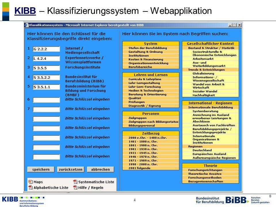 KIBB – Klassifizierungssystem – Webapplikation