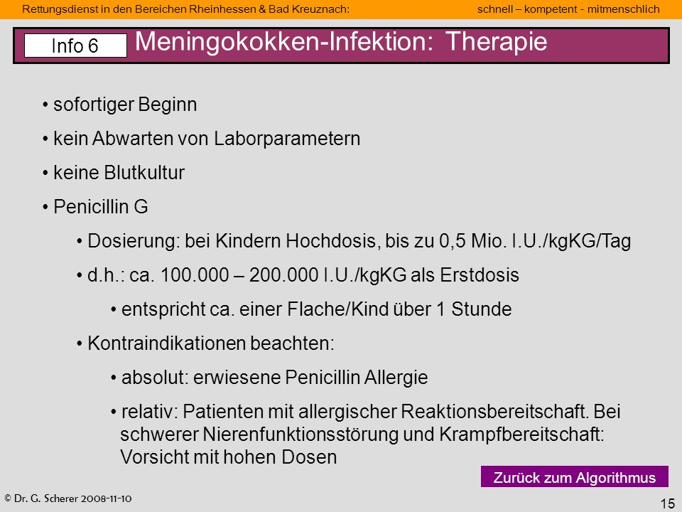 Meningokokken-Infektion: Therapie