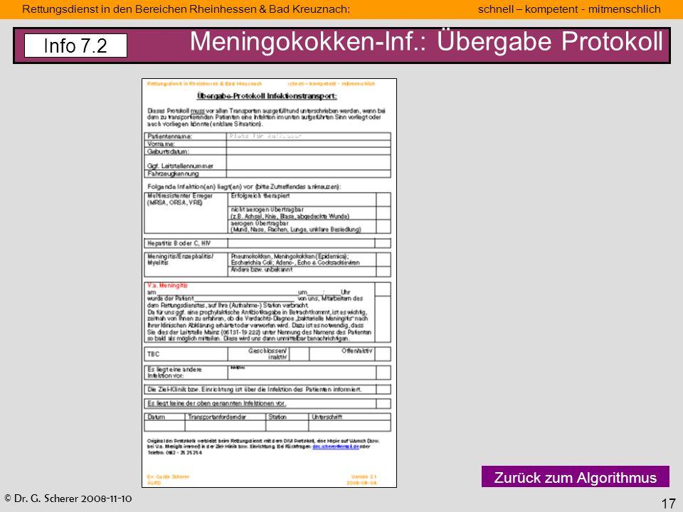 Meningokokken-Inf.: Übergabe Protokoll