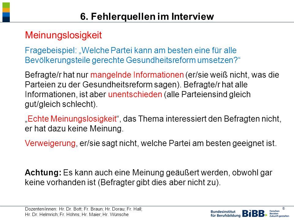 6. Fehlerquellen im Interview