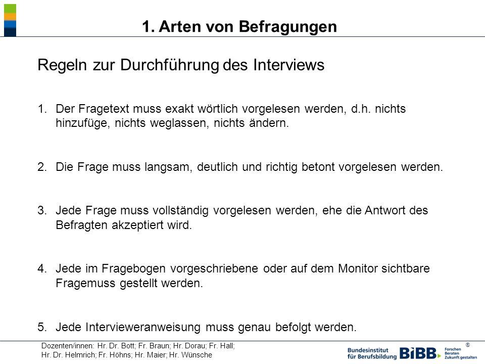Regeln zur Durchführung des Interviews