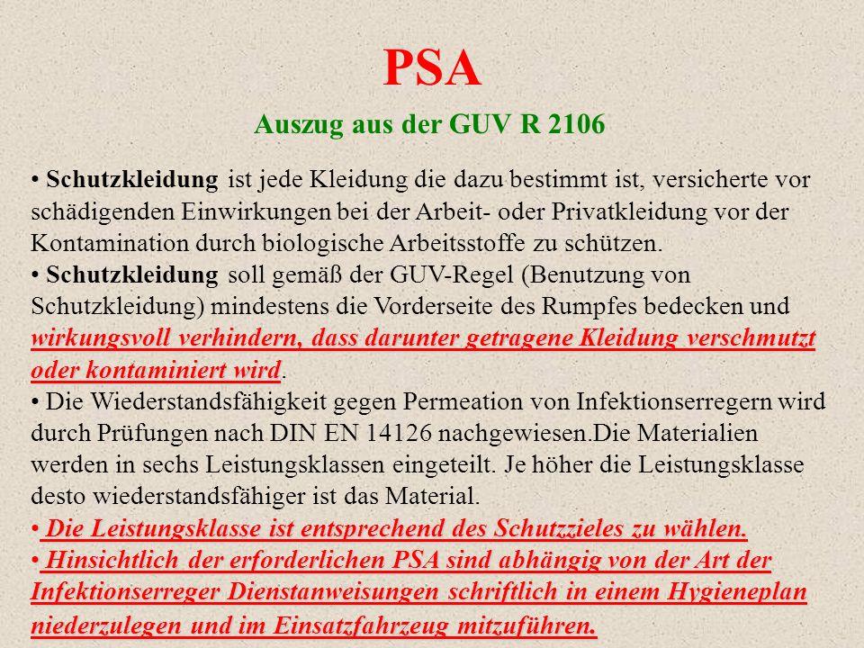 PSA Auszug aus der GUV R 2106.