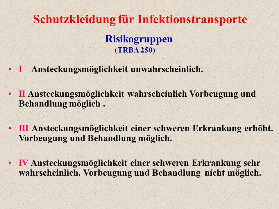 Schutzkleidung für Infektionstransporte
