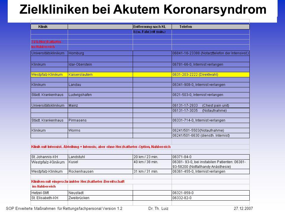 Zielkliniken bei Akutem Koronarsyndrom