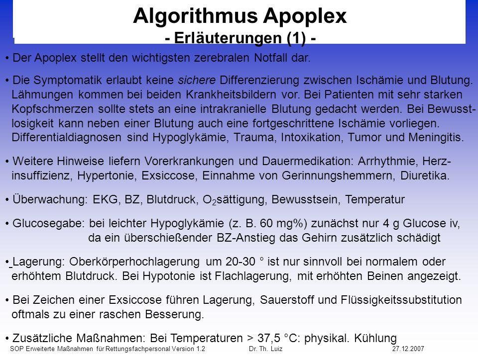 Algorithmus Apoplex - Erläuterungen (1) -