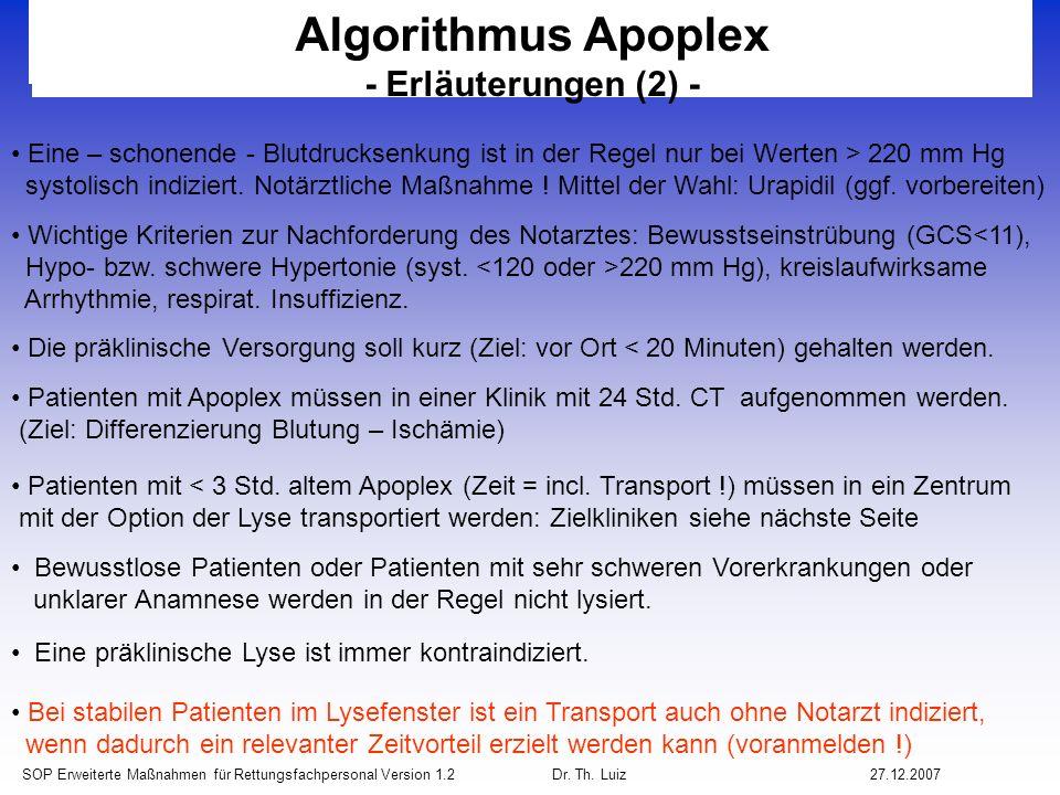 Algorithmus Apoplex - Erläuterungen (2) -