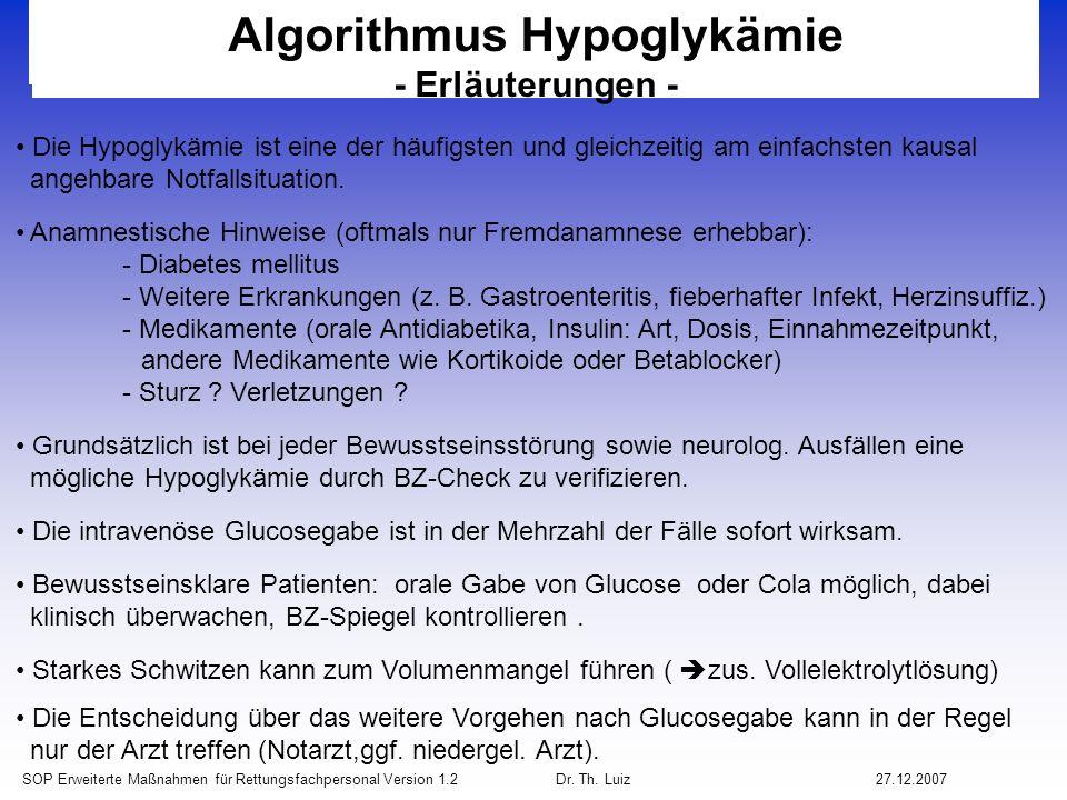 Algorithmus Hypoglykämie