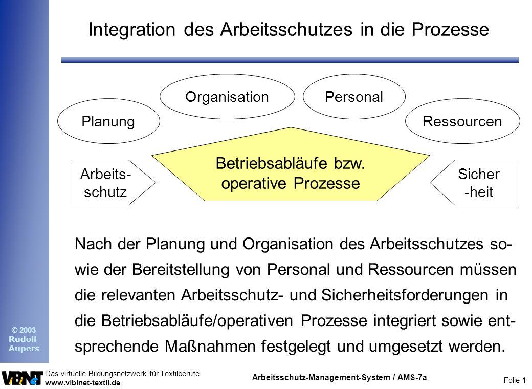 Integration des Arbeitsschutzes in die Prozesse