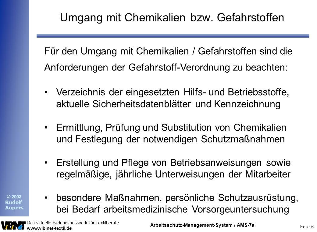 Umgang mit Chemikalien bzw. Gefahrstoffen