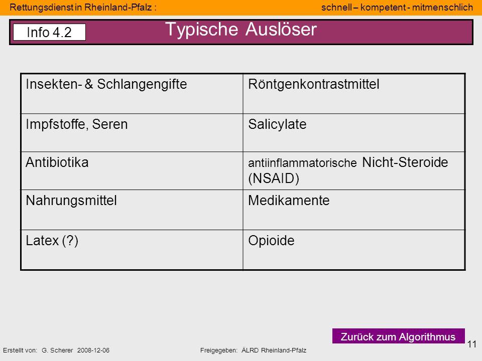 Typische Auslöser Info 4.2 Insekten- & Schlangengifte
