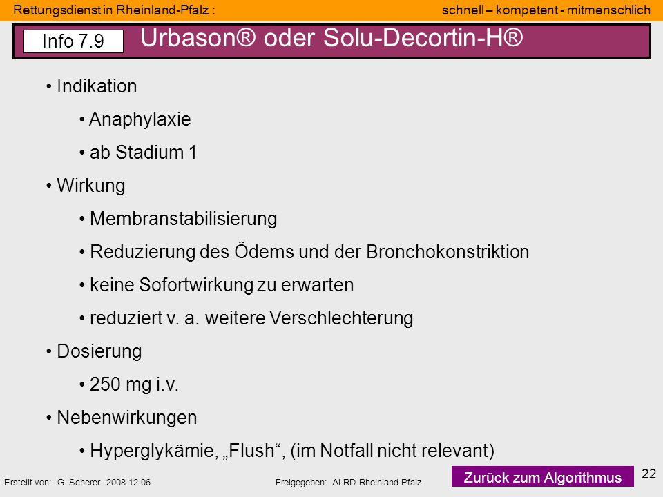 Urbason® oder Solu-Decortin-H®