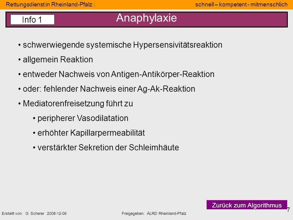 Anaphylaxie Info 1 schwerwiegende systemische Hypersensivitätsreaktion